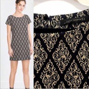Zara | Metallic Gold Black Brocade Shift Dress Med